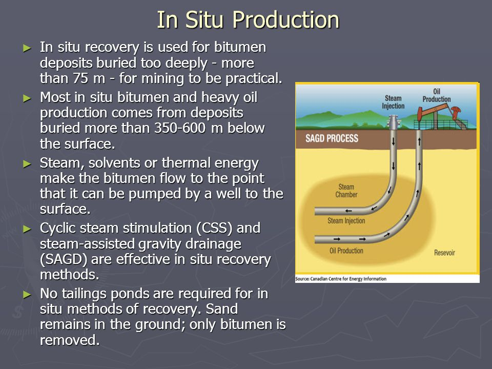 In Situ Production ► In situ recovery is used for bitumen deposits buried too deeply - more than 75 m - for mining to be practical.
