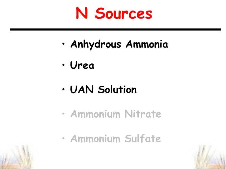 N Sources Anhydrous Ammonia Urea UAN Solution Ammonium Nitrate Ammonium Sulfate