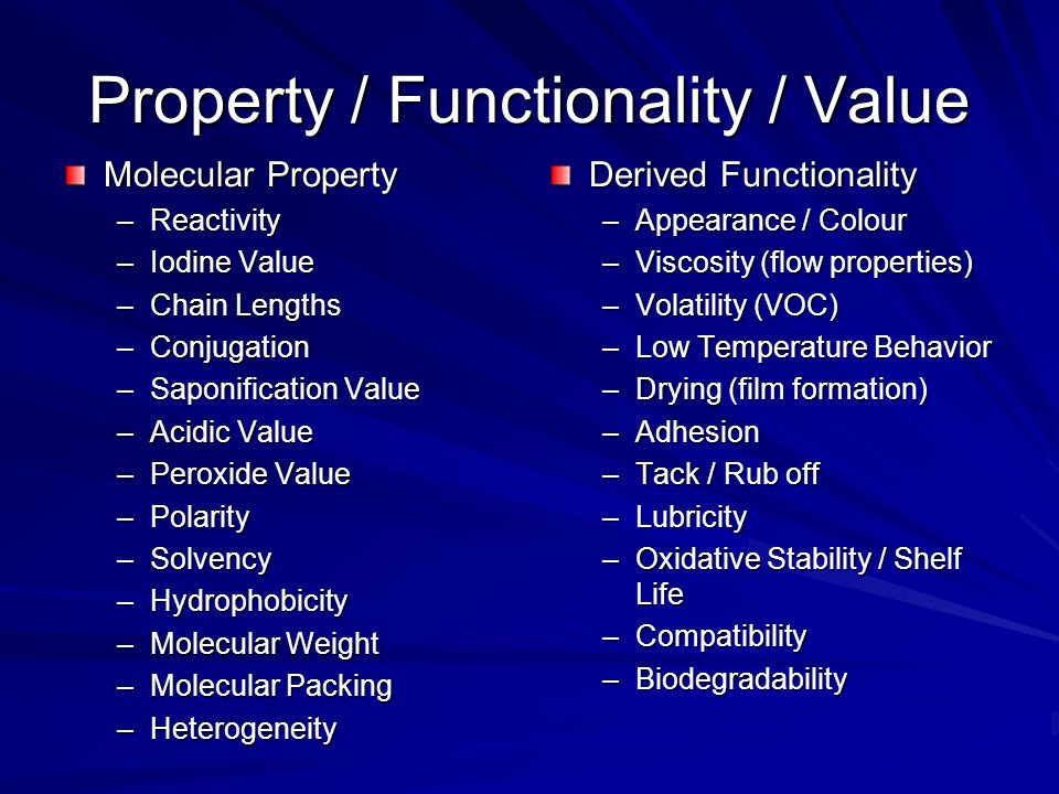 Property / Functionality / Value Molecular Property –Reactivity –Iodine Value –Chain Lengths –Conjugation –Saponification Value –Acidic Value –Peroxid