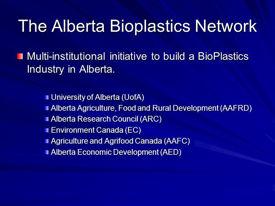 The Alberta Bioplastics Network Multi-institutional initiative to build a BioPlastics Industry in Alberta. University of Alberta (UofA) Alberta Agricu