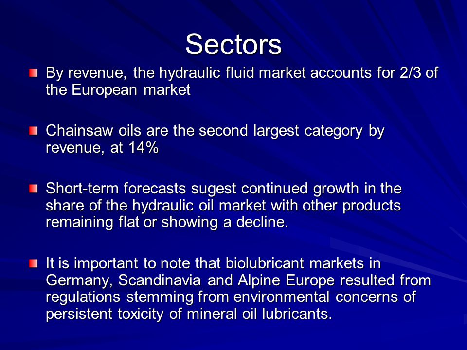 Sectors By revenue, the hydraulic fluid market accounts for 2/3 of the European market Chainsaw oils are the second largest category by revenue, at 14