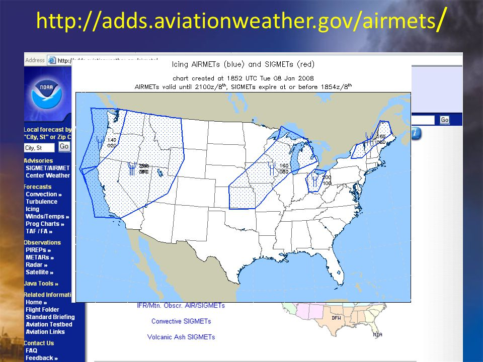 http://adds.aviationweather.gov/airmets / Click