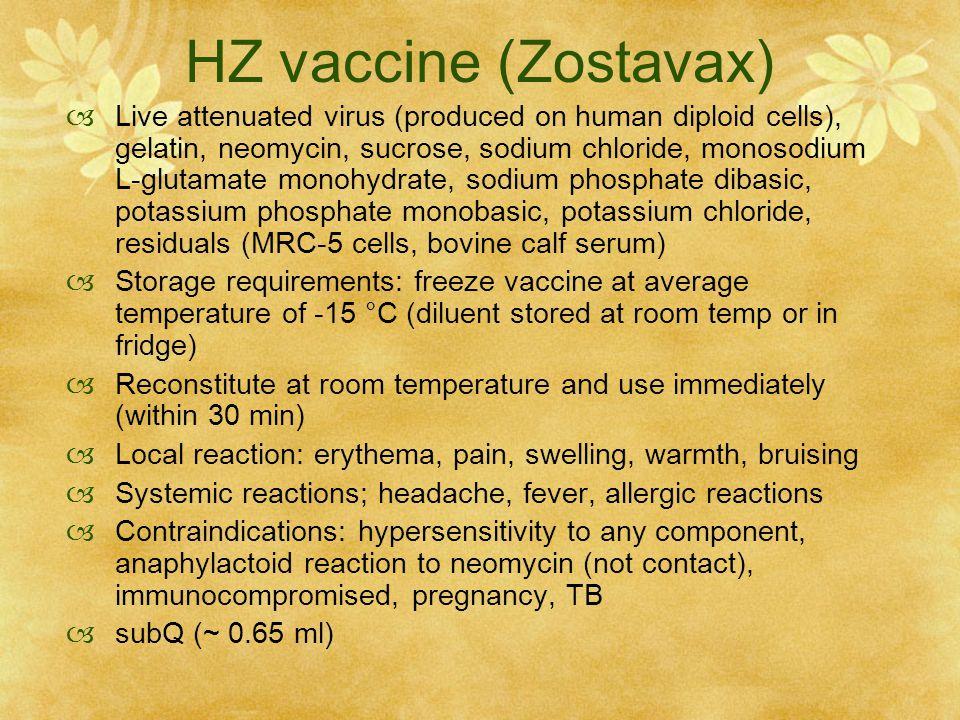 HZ vaccine (Zostavax)  Live attenuated virus (produced on human diploid cells), gelatin, neomycin, sucrose, sodium chloride, monosodium L-glutamate m