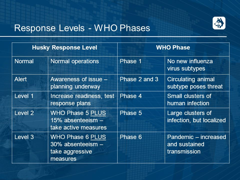 Response Levels - WHO Phases Husky Response LevelWHO Phase NormalNormal operationsPhase 1No new influenza virus subtypes AlertAwareness of issue – planning underway Phase 2 and 3Circulating animal subtype poses threat Level 1Increase readiness, test response plans Phase 4Small clusters of human infection Level 2WHO Phase 5 PLUS 15% absenteeism – take active measures Phase 5Large clusters of infection, but localized Level 3WHO Phase 6 PLUS 30% absenteeism – take aggressive measures Phase 6Pandemic – increased and sustained transmission