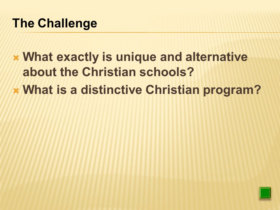  What exactly is unique and alternative about the Christian schools.