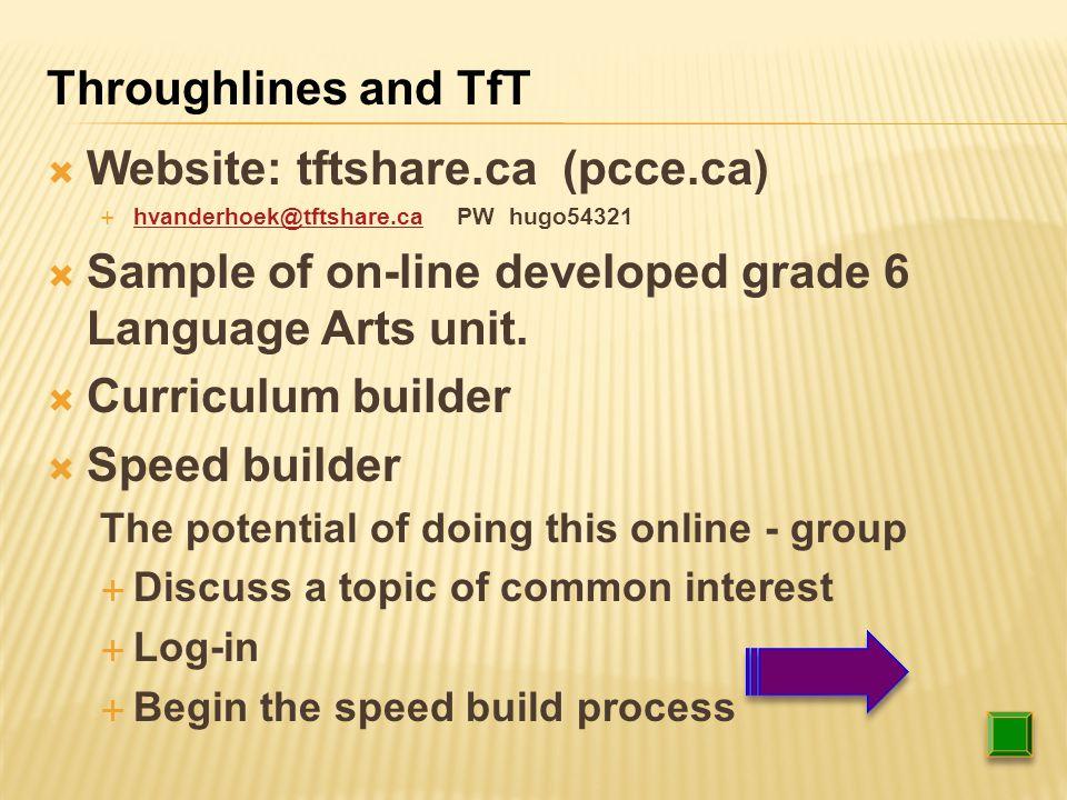  Website: tftshare.ca (pcce.ca)  hvanderhoek@tftshare.ca PW hugo54321 hvanderhoek@tftshare.ca  Sample of on-line developed grade 6 Language Arts unit.
