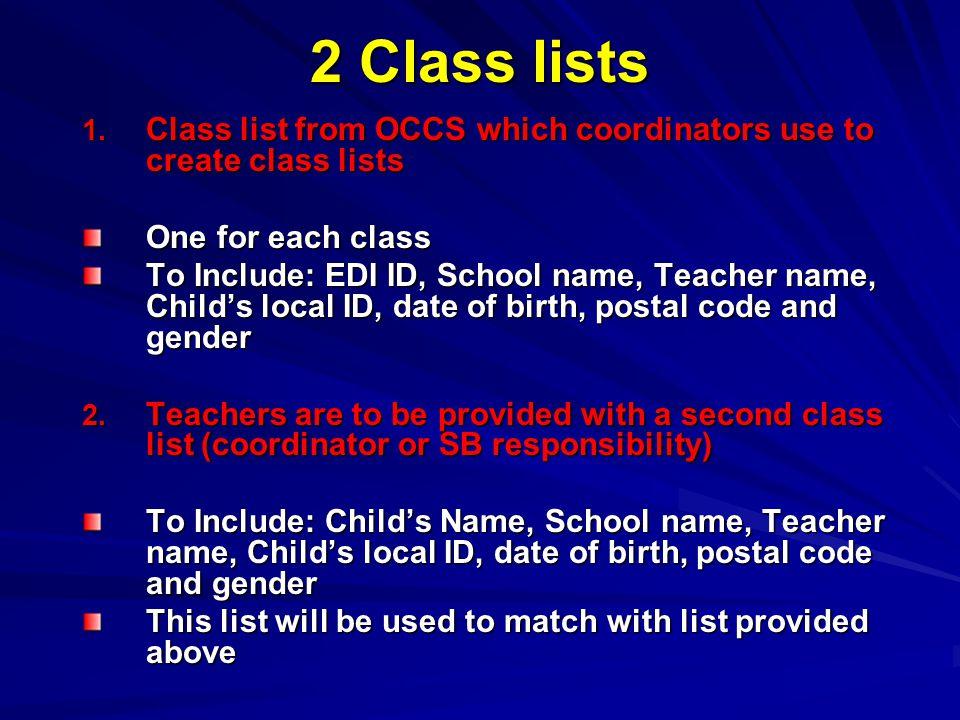 2 Class lists 1.