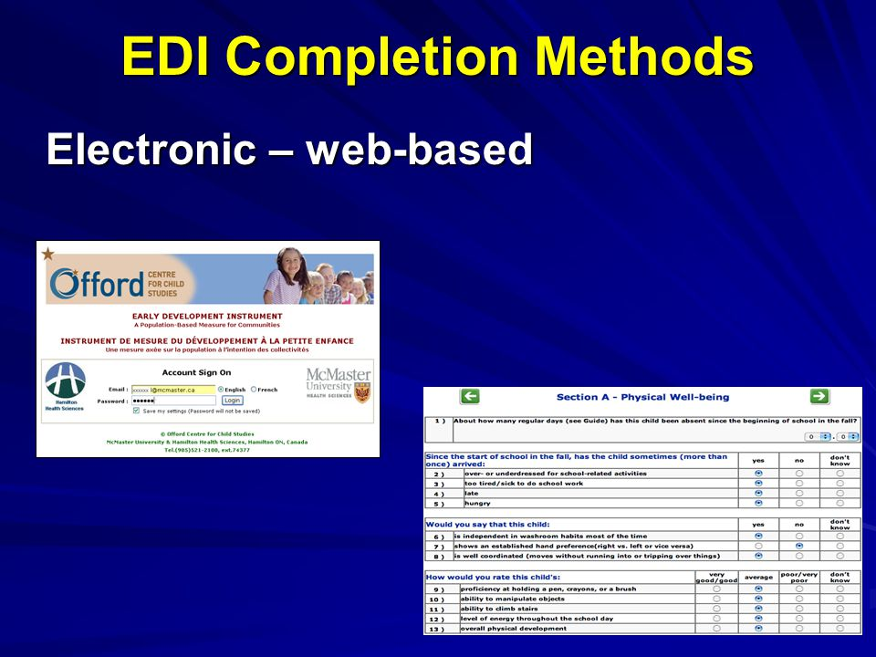 EDI Completion Methods Electronic – web-based
