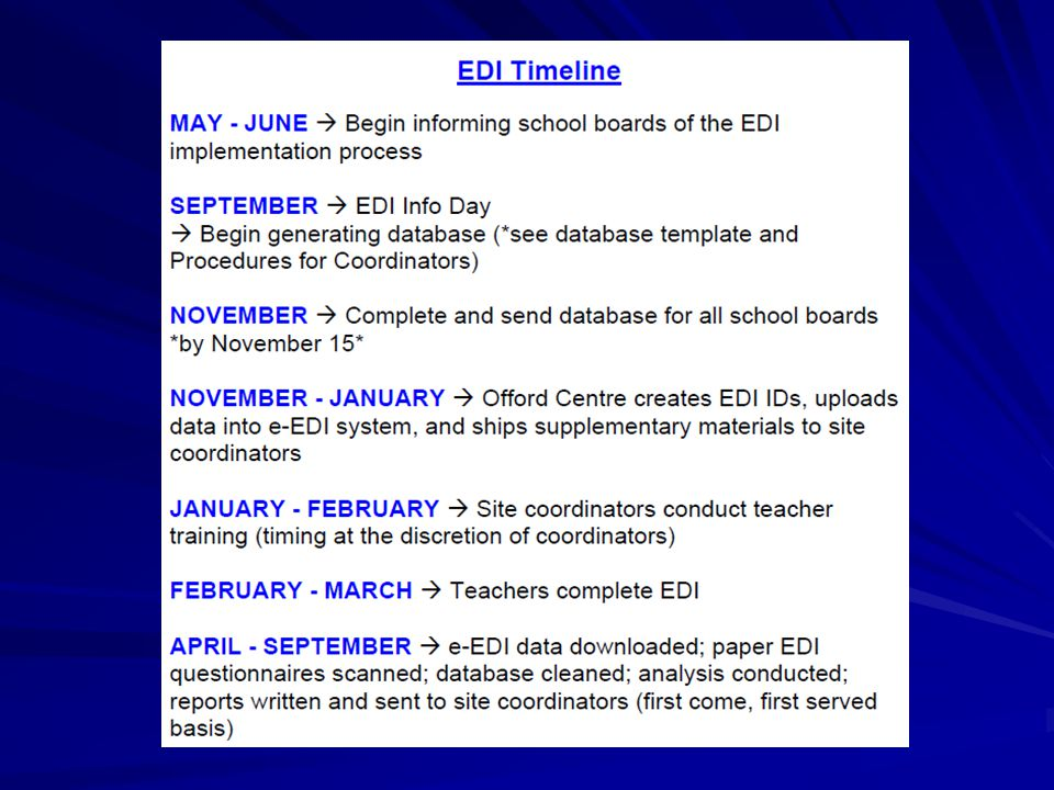 e-EDI Package for Teachers Offord will supply each local coordinator with the following documents for distribution to the teachers… Offord will supply each local coordinator with the following documents for distribution to the teachers… e-EDI Teachers Instruction Manual e-EDI Teachers Instruction Manual