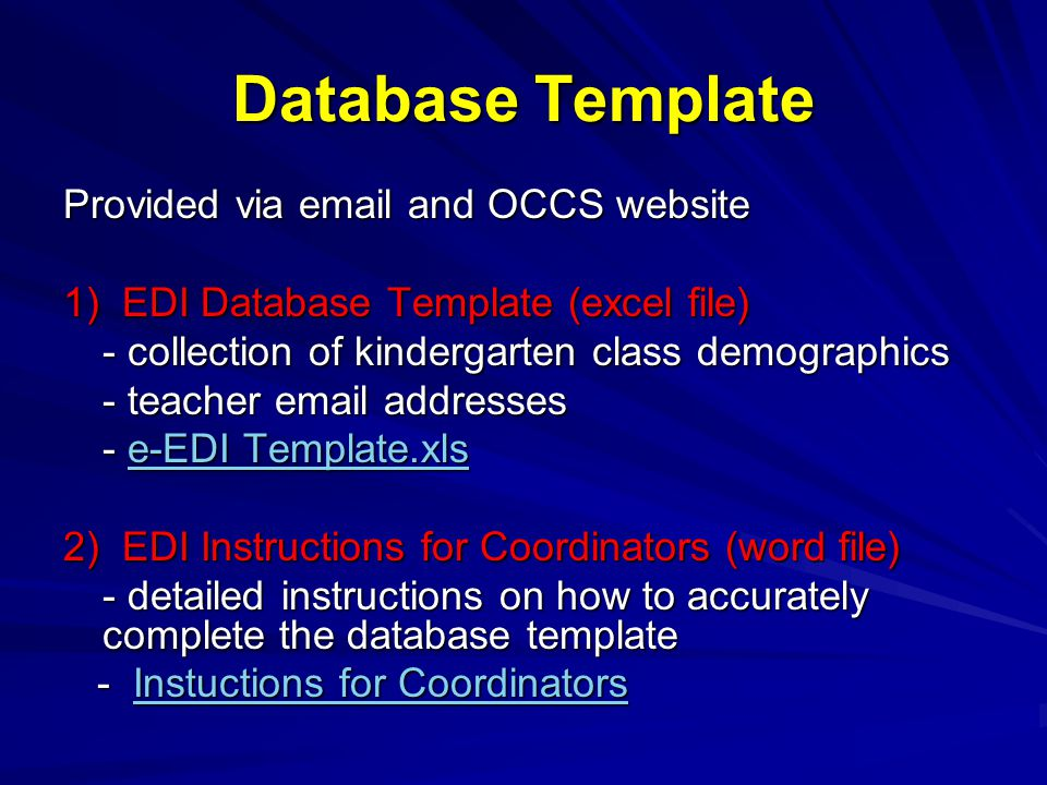 EDI Database template School Authority: Coordinator: Pleasant Mrs.