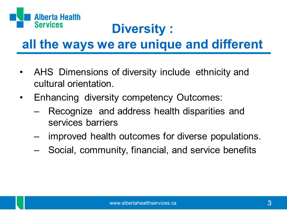 3 Diversity : all the ways we are unique and different AHS Dimensions of diversity include ethnicity and cultural orientation.