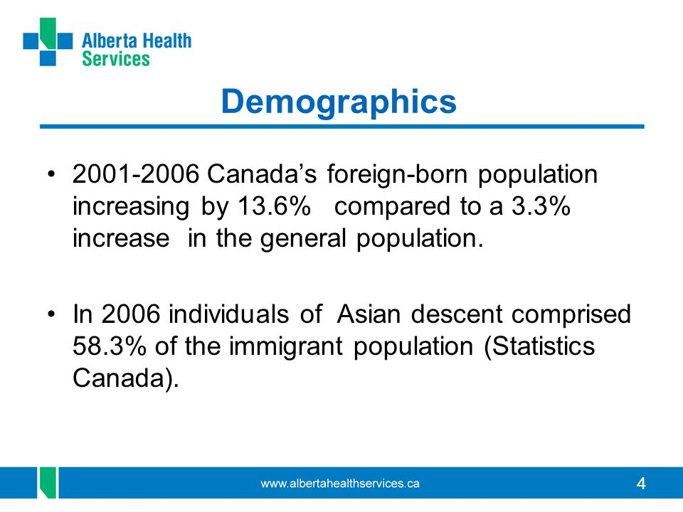 4 Demographics 2001-2006 Canada's foreign-born population increasing by 13.6% compared to a 3.3% increase in the general population.