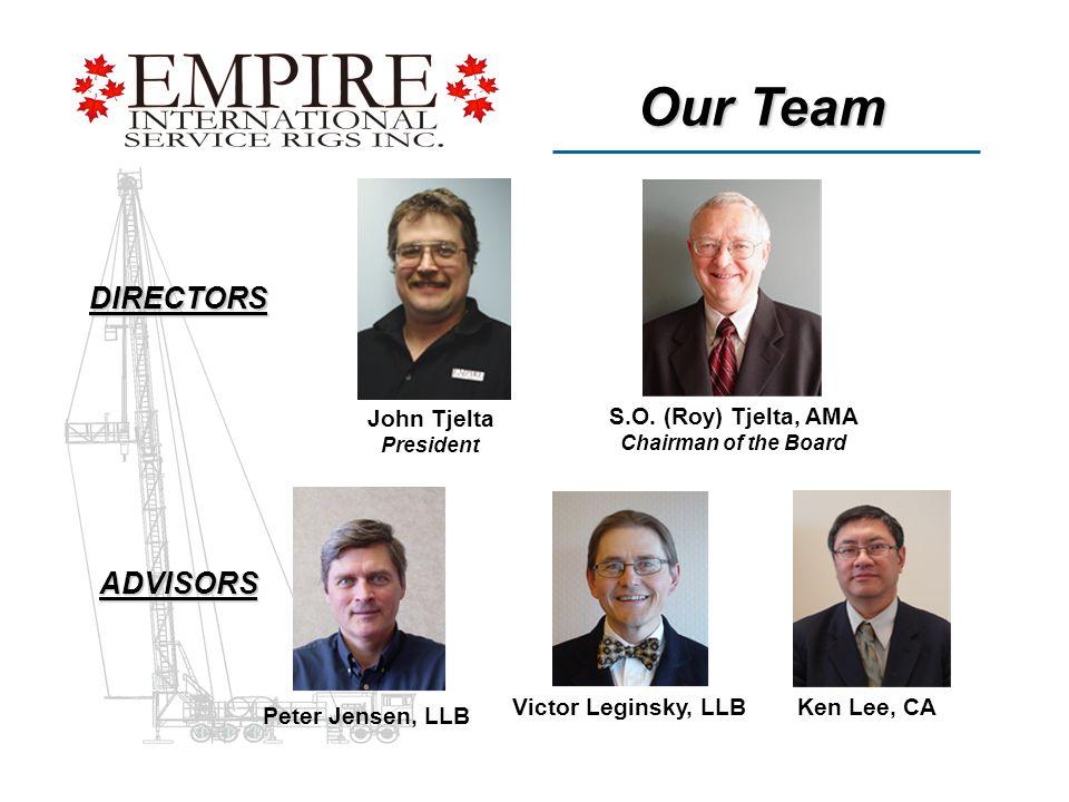 Our Team DIRECTORS ADVISORS John Tjelta President S.O.