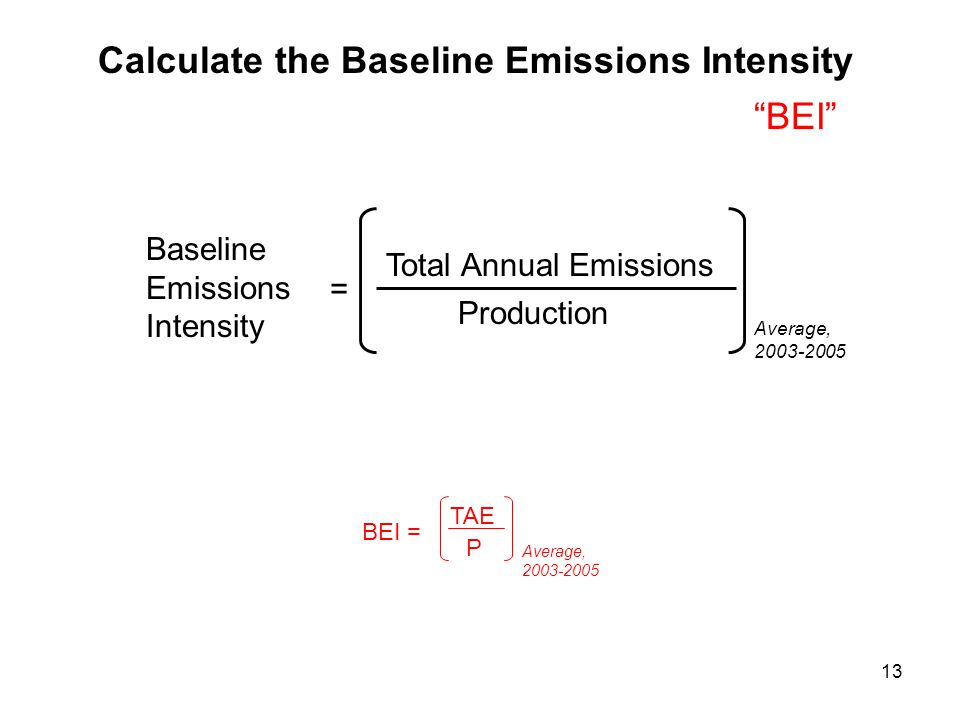 13 BEI = TAE P Average, 2003-2005 Calculate the Baseline Emissions Intensity BEI Baseline Emissions Intensity = Total Annual Emissions Production Average, 2003-2005