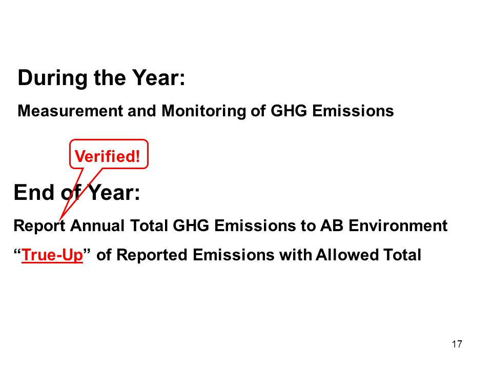 17 During the Year: Measurement and Monitoring of GHG Emissions End of Year: Report Annual Total GHG Emissions to AB Environment True-Up of Reported Emissions with Allowed Total Verified!
