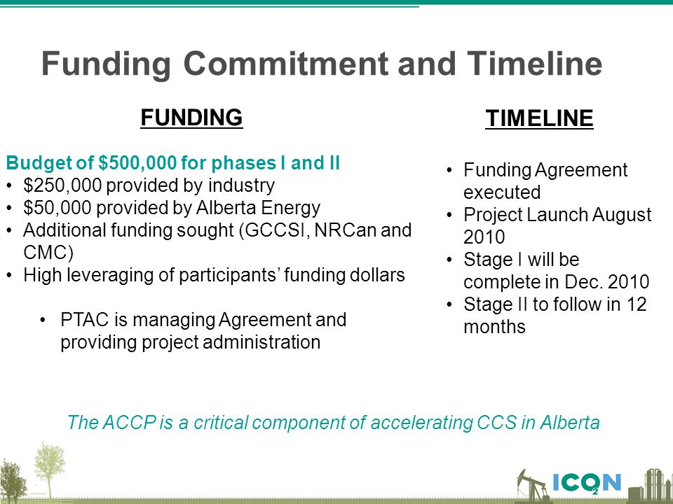 Funding Commitment and Timeline Budget of $500,000 for phases I and II $250,000 provided by industry $50,000 provided by Alberta Energy Additional fun