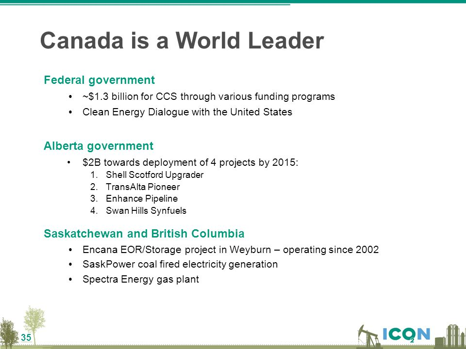 35 Federal government ~$1.3 billion for CCS through various funding programs Clean Energy Dialogue with the United States Alberta government $2B towar