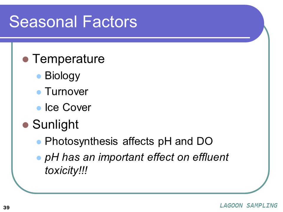 39 Seasonal Factors Temperature Biology Turnover Ice Cover Sunlight Photosynthesis affects pH and DO pH has an important effect on effluent toxicity!!.