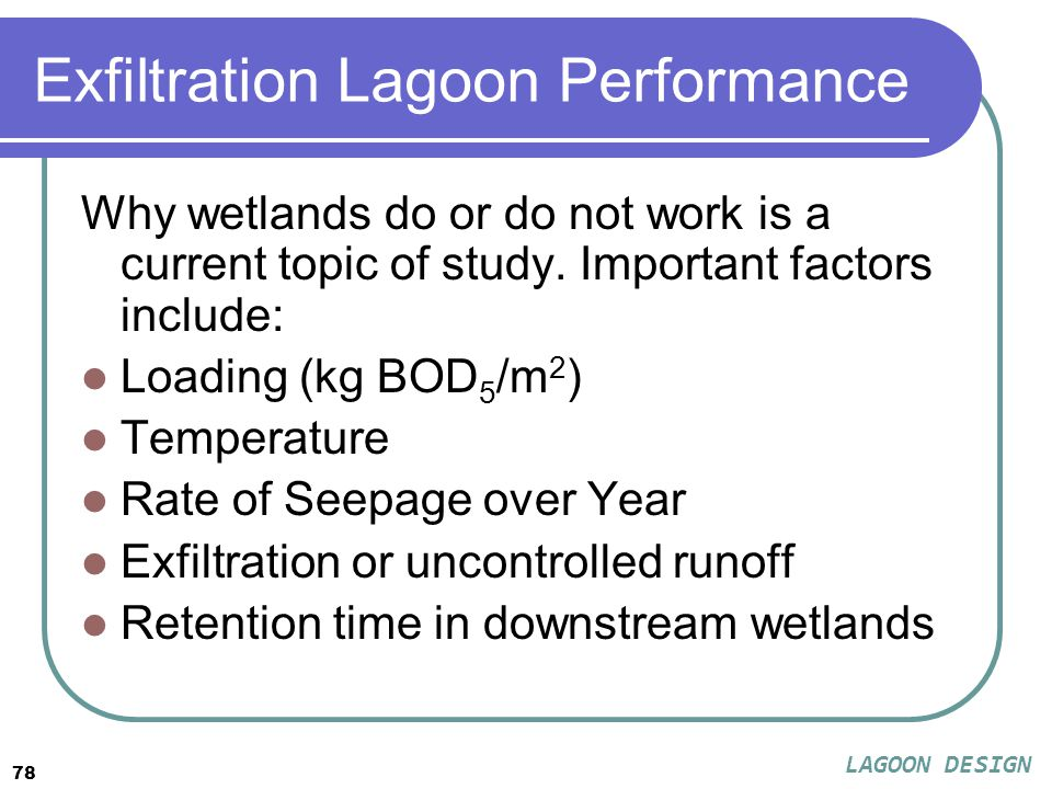 78 Exfiltration Lagoon Performance Why wetlands do or do not work is a current topic of study.