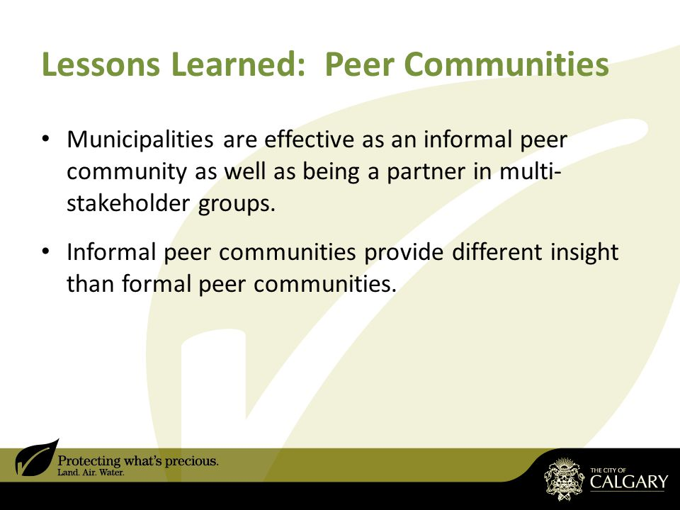 Lessons Learned: Peer Communities Municipalities are effective as an informal peer community as well as being a partner in multi- stakeholder groups.