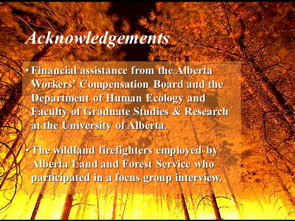 Financial assistance from the Alberta Workers' Compensation Board and the Department of Human Ecology and Faculty of Graduate Studies & Research at the University of Alberta.Financial assistance from the Alberta Workers' Compensation Board and the Department of Human Ecology and Faculty of Graduate Studies & Research at the University of Alberta.