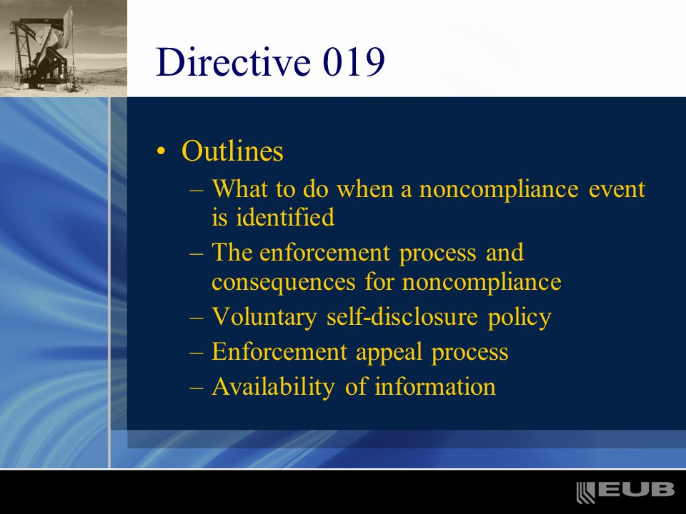 Directive 019 Outlines –What to do when a noncompliance event is identified –The enforcement process and consequences for noncompliance –Voluntary self-disclosure policy –Enforcement appeal process –Availability of information