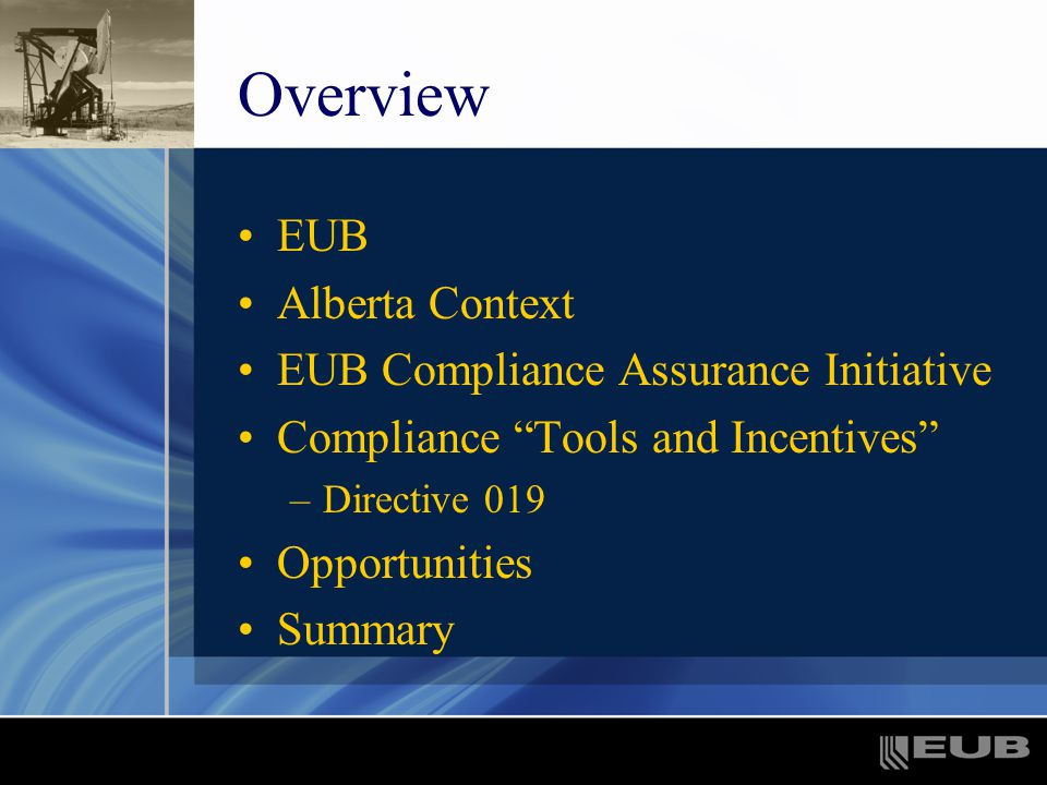 Overview EUB Alberta Context EUB Compliance Assurance Initiative Compliance Tools and Incentives –Directive 019 Opportunities Summary