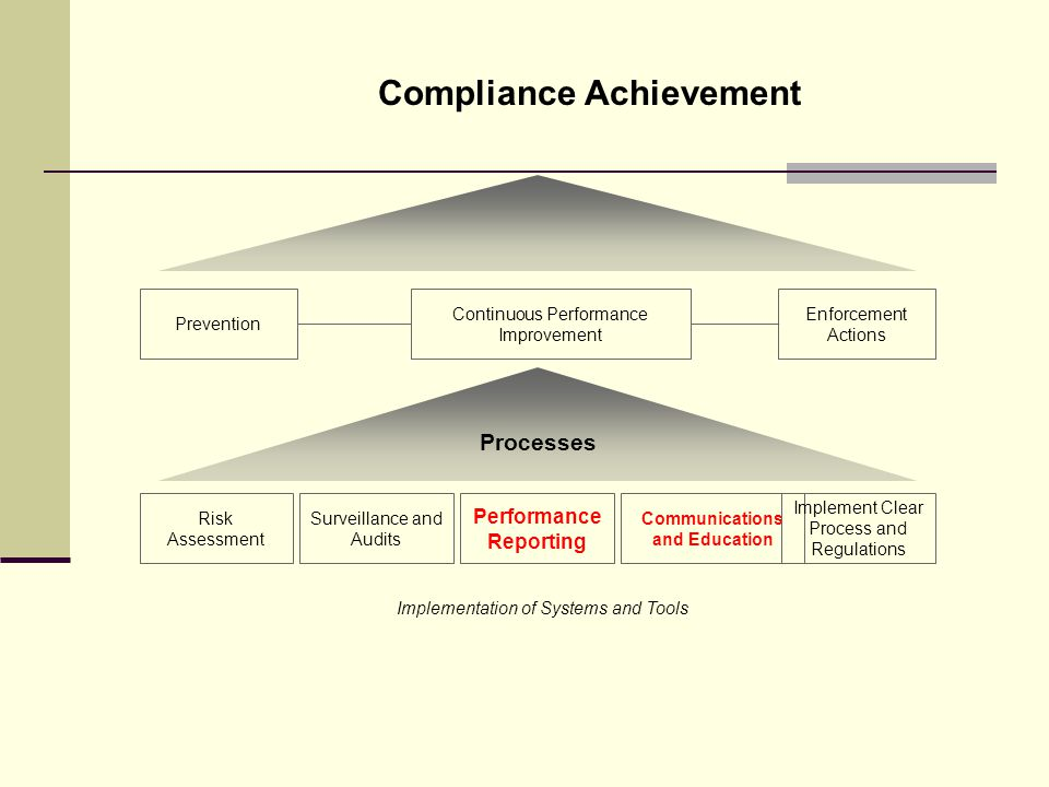 Compliance Achievement Enforcement Actions Prevention Implementation of Systems and Tools Risk Assessment Surveillance and Audits Performance Reporting Communications and Education Continuous Performance Improvement Implement Clear Process and Regulations Processes