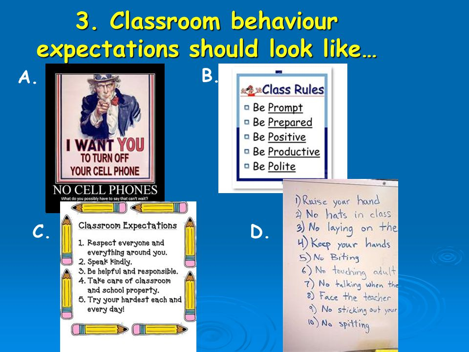 3. Classroom behaviour expectations should look like… A. B. C.D.