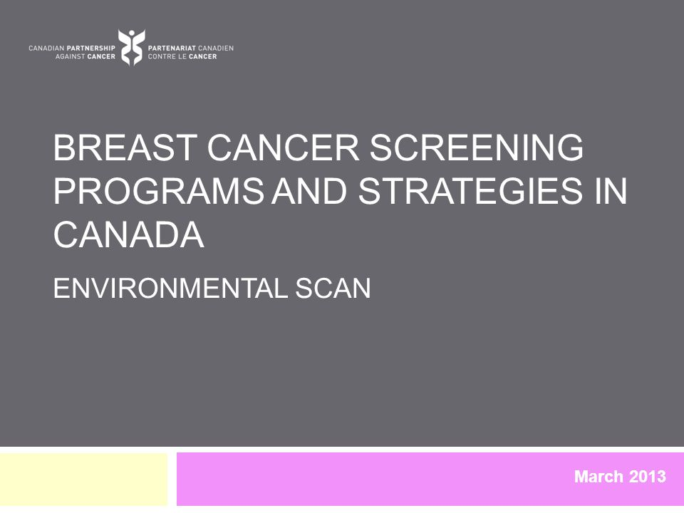 BREAST CANCER SCREENING PROGRAMS AND STRATEGIES IN CANADA ENVIRONMENTAL SCAN March 2013