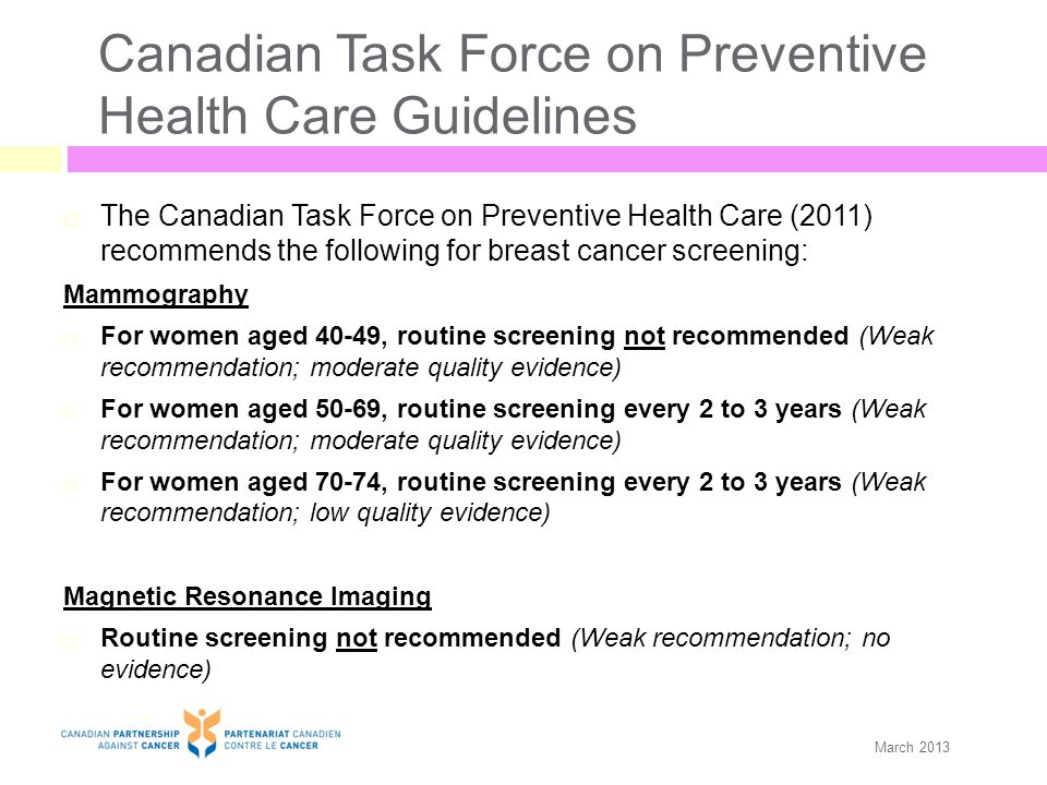 Canadian Task Force on Preventive Health Care Guidelines (Cont'd) Clinical Breast Exam  Routine screening for breast cancer is not recommended when performing clinical breast exam alone or in conjunction with mammography (Weak recommendation; low quality evidence) Breast Self Exam  Routine practice of breast self exam is not advised by the Task Force (Weak recommendation; moderate quality evidence) March 2013