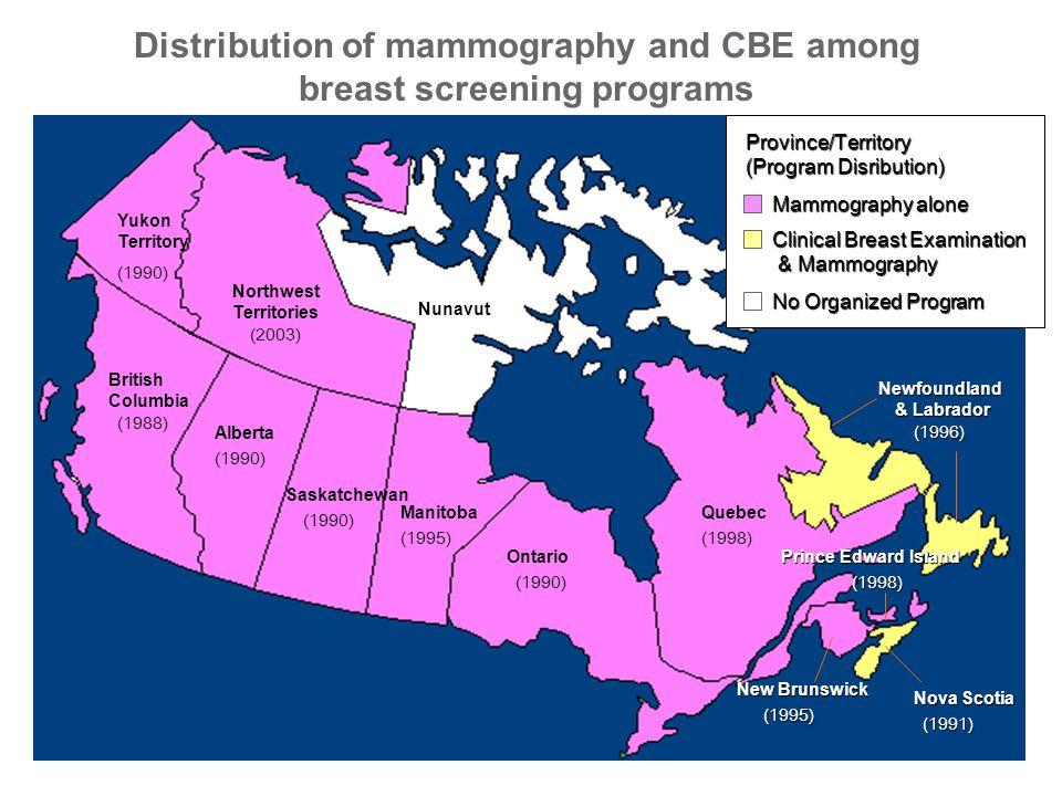 Ontario QuebecManitoba Saskatchewan Alberta British Columbia Yukon Territory Northwest Territories Nunavut New Brunswick Nova Scotia Prince Edward Island Newfoundland & Labrador (1990) (1998)(1995) (1990) (1988) (2003) (1990) (1995) (1991) (1998) (1996) Province/Territory (Program Disribution) Mammography alone Clinical Breast Examination & Mammography & Mammography No Organized Program Distribution of mammography and CBE among breast screening programs