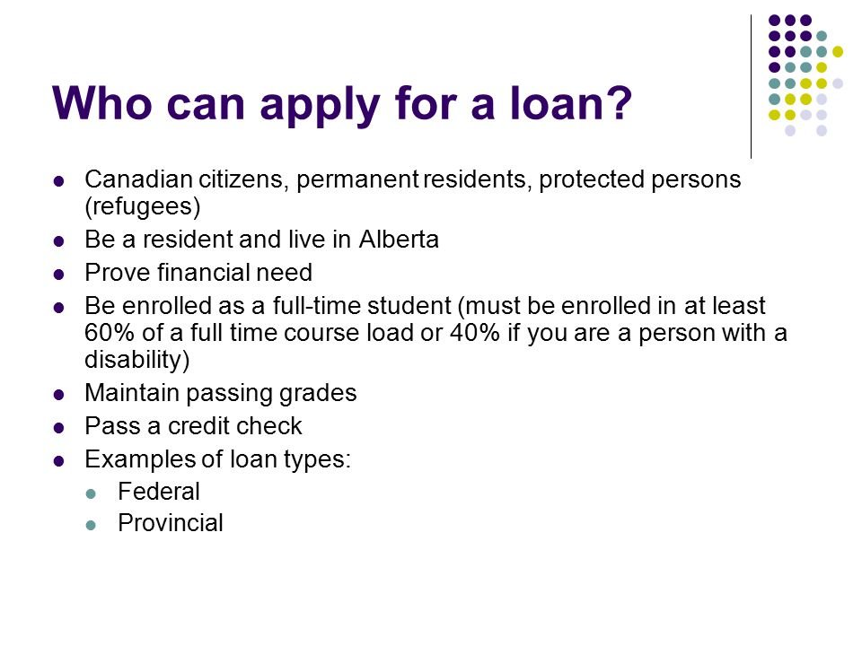 Who can apply for a loan.