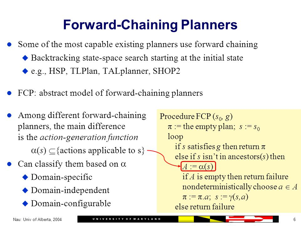 6Nau: Univ of Alberta, 2004 l Some of the most capable existing planners use forward chaining u Backtracking state-space search starting at the initial state u e.g., HSP, TLPlan, TALplanner, SHOP2 l FCP: abstract model of forward-chaining planners l Among different forward-chaining planners, the main difference is the action-generation function  (s)  {actions applicable to s} l Can classify them based on  u Domain-specific u Domain-independent u Domain-configurable Forward-Chaining Planners Procedure FCP (s 0, g) π := the empty plan; s := s 0 loop if s satisfies g then return π else if s isn't in ancestors(s) then A :=  (s) if A is empty then return failure nondeterministically choose a  A π := π.a; s :=  (s,a) else return failure