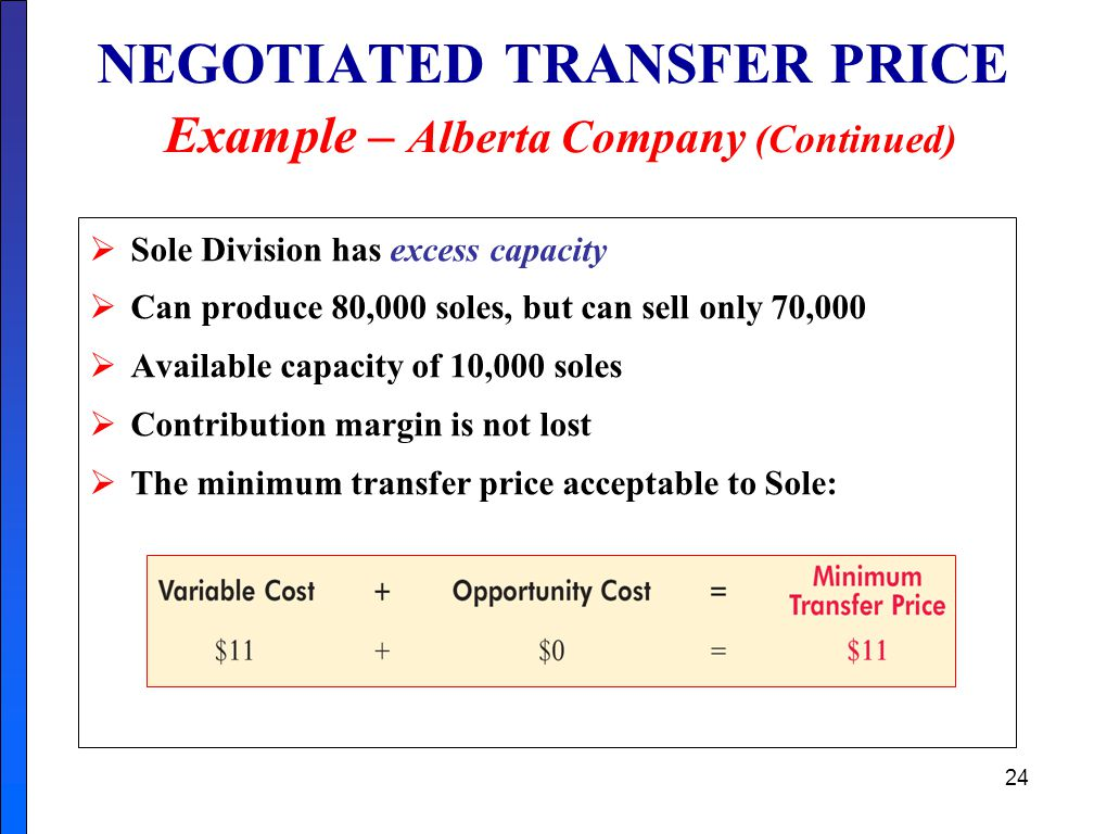 24 NEGOTIATED TRANSFER PRICE Example – Alberta Company (Continued)  Sole Division has excess capacity  Can produce 80,000 soles, but can sell only 70,000  Available capacity of 10,000 soles  Contribution margin is not lost  The minimum transfer price acceptable to Sole: