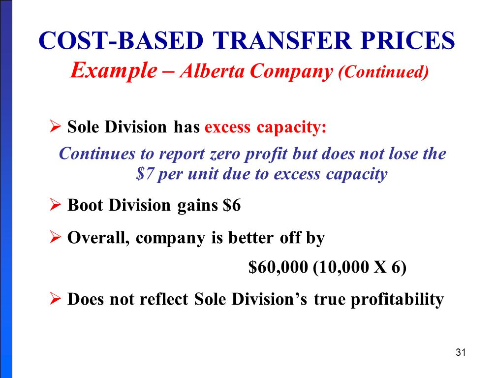 31 COST-BASED TRANSFER PRICES Example – Alberta Company (Continued)  Sole Division has excess capacity: Continues to report zero profit but does not lose the $7 per unit due to excess capacity  Boot Division gains $6  Overall, company is better off by $60,000 (10,000 X 6)  Does not reflect Sole Division's true profitability