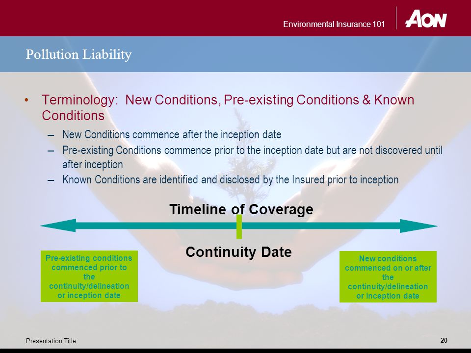 Environmental Insurance 101 Presentation Title 20 Pollution Liability Terminology: New Conditions, Pre-existing Conditions & Known Conditions – New Co