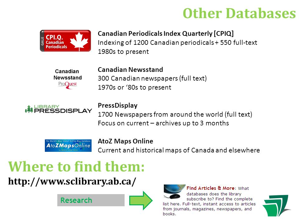 Other Databases Canadian Periodicals Index Quarterly [CPIQ] Indexing of 1200 Canadian periodicals + 550 full-text 1980s to present Canadian Newsstand 300 Canadian newspapers (full text) 1970s or '80s to present PressDisplay 1700 Newspapers from around the world (full text) Focus on current – archives up to 3 months AtoZ Maps Online Current and historical maps of Canada and elsewhere Research Where to find them: http://www.sclibrary.ab.ca/