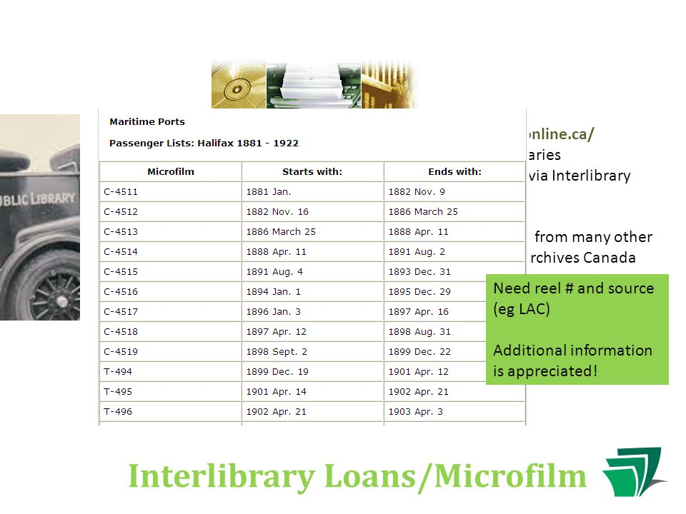 Interlibrary Loans/Microfilm TAL Online | http://www.talonline.ca/ Catalogue for all Alberta's libraries Most items can be requested via Interlibrary Loan Microfilm can also be ordered from many other libraries, including Library & Archives Canada Need reel # and source (eg LAC) Additional information is appreciated!
