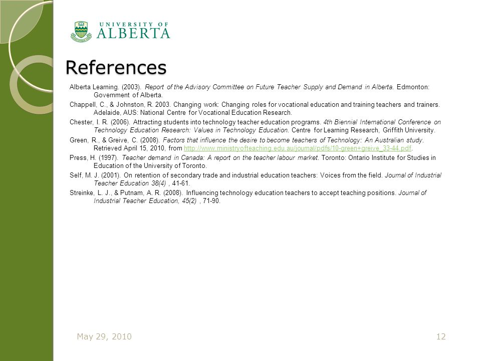 References Alberta Learning. (2003). Report of the Advisory Committee on Future Teacher Supply and Demand in Alberta. Edmonton: Government of Alberta.