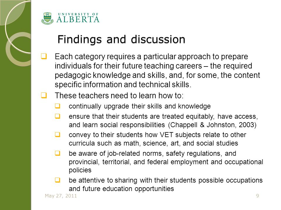Findings and discussion Findings and discussion 9May 27, 2011  Each category requires a particular approach to prepare individuals for their future t