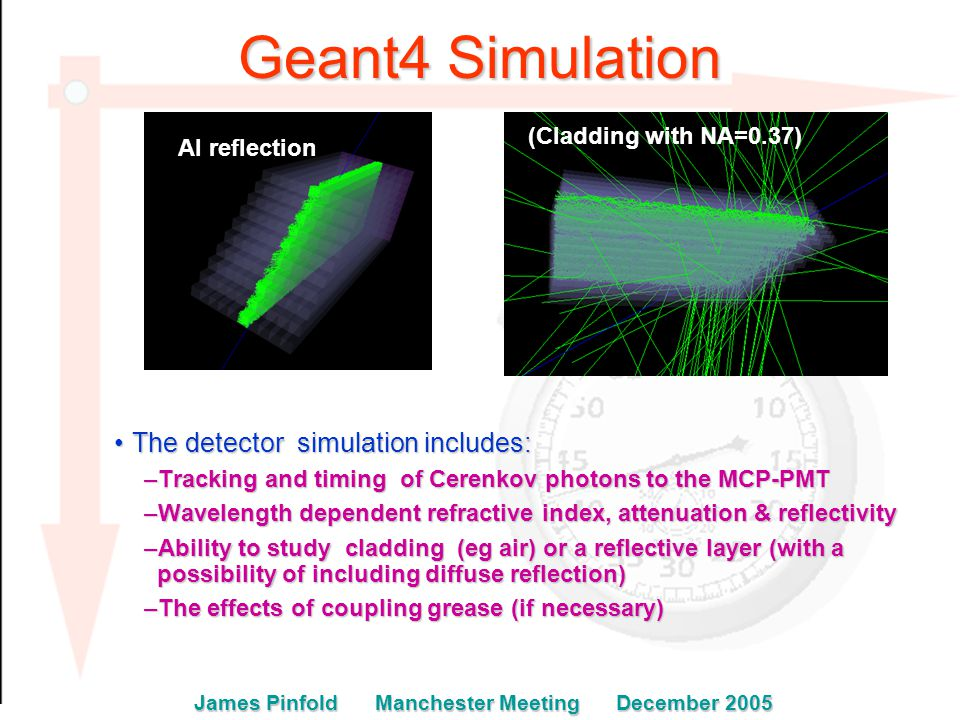 Geant4 Simulation The detector simulation includes:The detector simulation includes: –Tracking and timing of Cerenkov photons to the MCP-PMT –Wavelength dependent refractive index, attenuation & reflectivity –Ability to study cladding (eg air) or a reflective layer (with a possibility of including diffuse reflection) –The effects of coupling grease (if necessary) Al reflection (Cladding with NA=0.37) James Pinfold Manchester Meeting December 2005