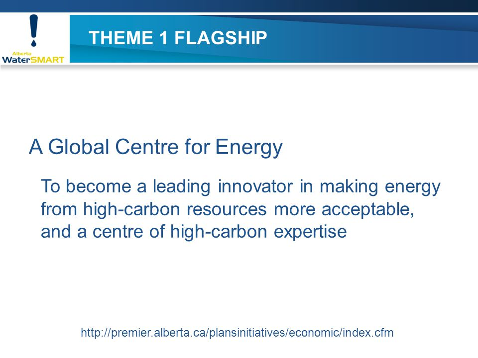 THEME 1 FLAGSHIP A Global Centre for Energy To become a leading innovator in making energy from high-carbon resources more acceptable, and a centre of