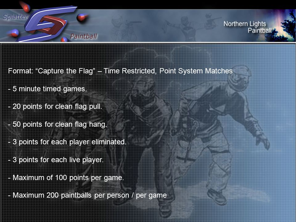 Format: Capture the Flag – Time Restricted, Point System Matches - 5 minute timed games.
