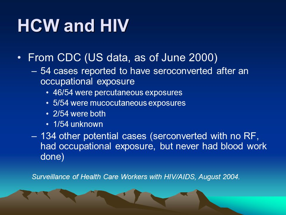 HCW and HIV From CDC (US data, as of June 2000) –54 cases reported to have seroconverted after an occupational exposure 46/54 were percutaneous exposu