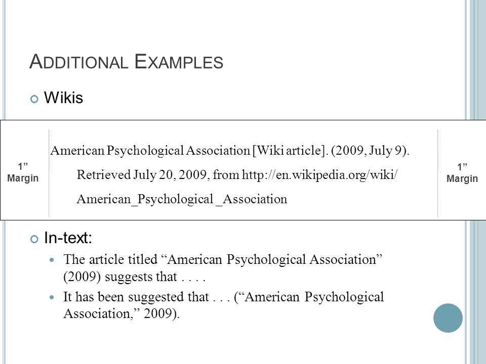 "A DDITIONAL E XAMPLES Wikis In-text: The article titled ""American Psychological Association"" (2009) suggests that.... It has been suggested that... ("""