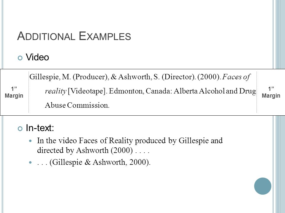 A DDITIONAL E XAMPLES Video In-text: In the video Faces of Reality produced by Gillespie and directed by Ashworth (2000)....... (Gillespie & Ashworth,