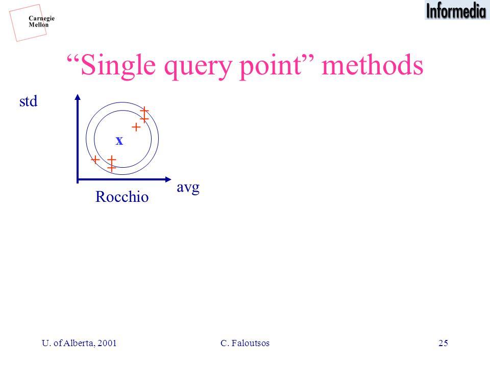 U. of Alberta, 2001C. Faloutsos25 Single query point methods Rocchio + + + + + + x avg std