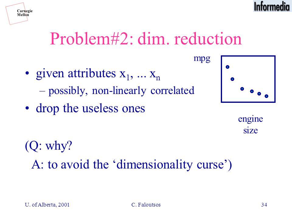 U. of Alberta, 2001C. Faloutsos34 Problem#2: dim.