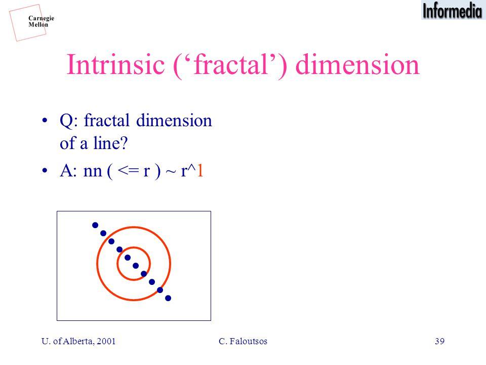 U. of Alberta, 2001C. Faloutsos39 Intrinsic ('fractal') dimension Q: fractal dimension of a line.